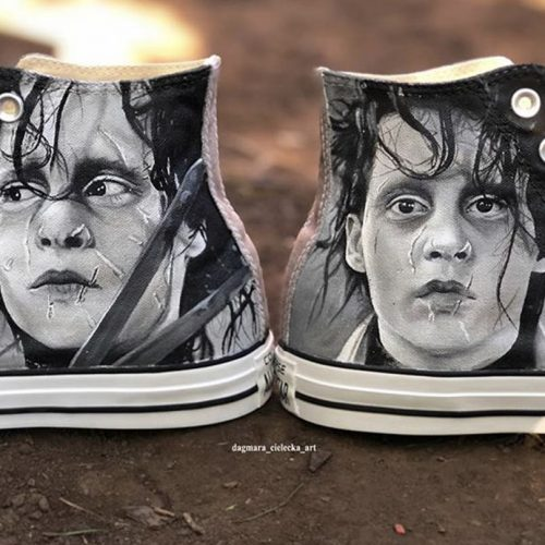 Edward Scissorhands Hand Painted Shoes