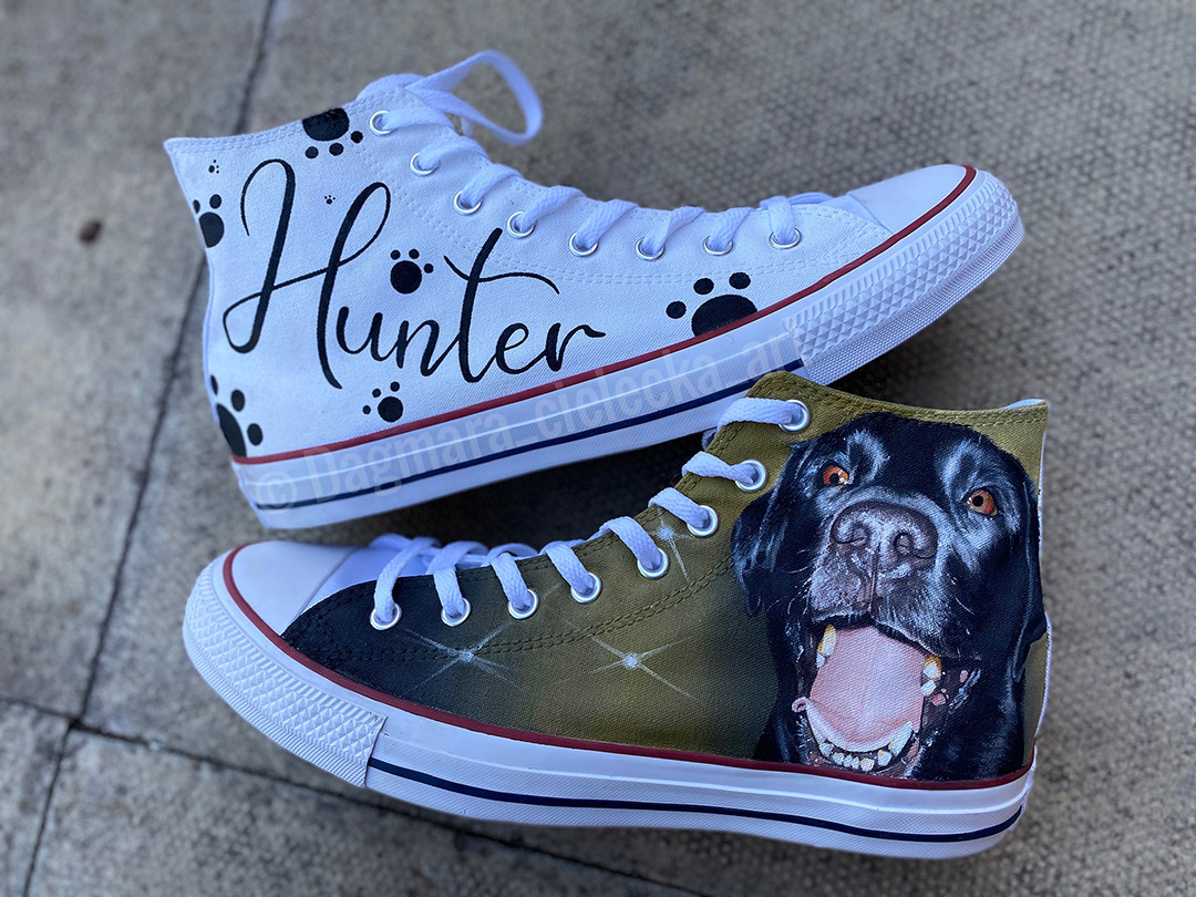 Hunter the Dog Painted Shoes