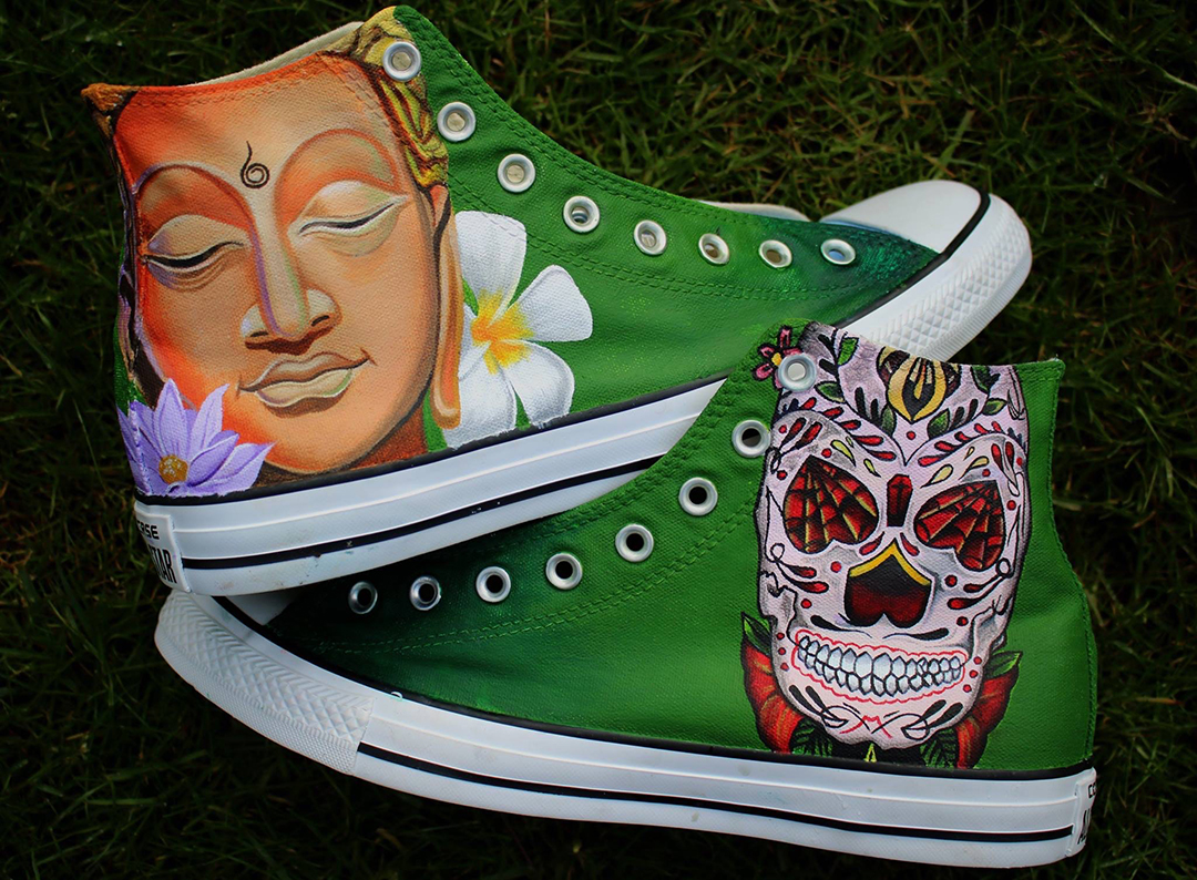 Buddha & Sugar Skull Converse