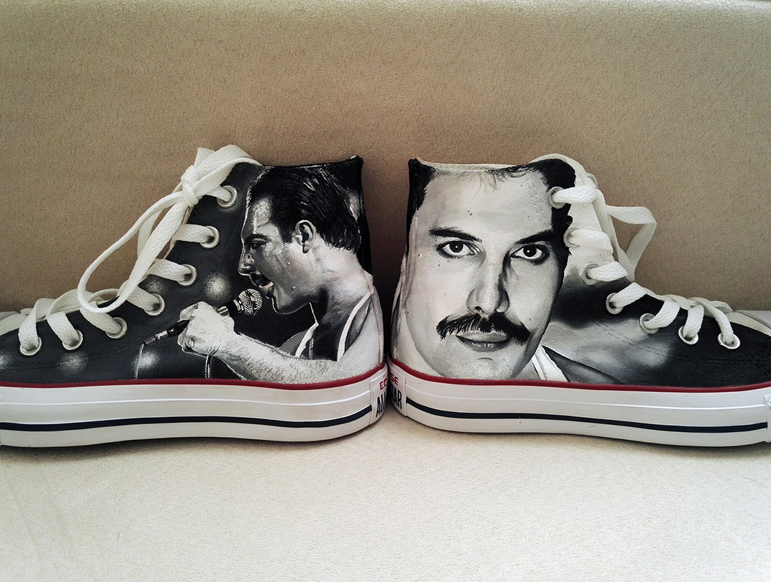 Hand Painted Converse Of Freddie Mercury