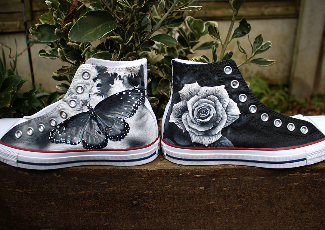 Butterfly & Rose Converse
